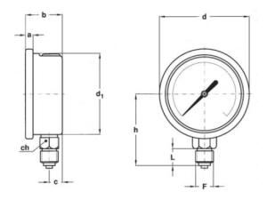 schita manometru radial 63mm
