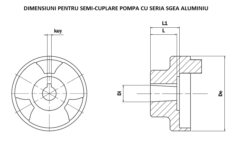 Schita cuplaje elastice semi-cuplare pompa seria SGEA aluminiu
